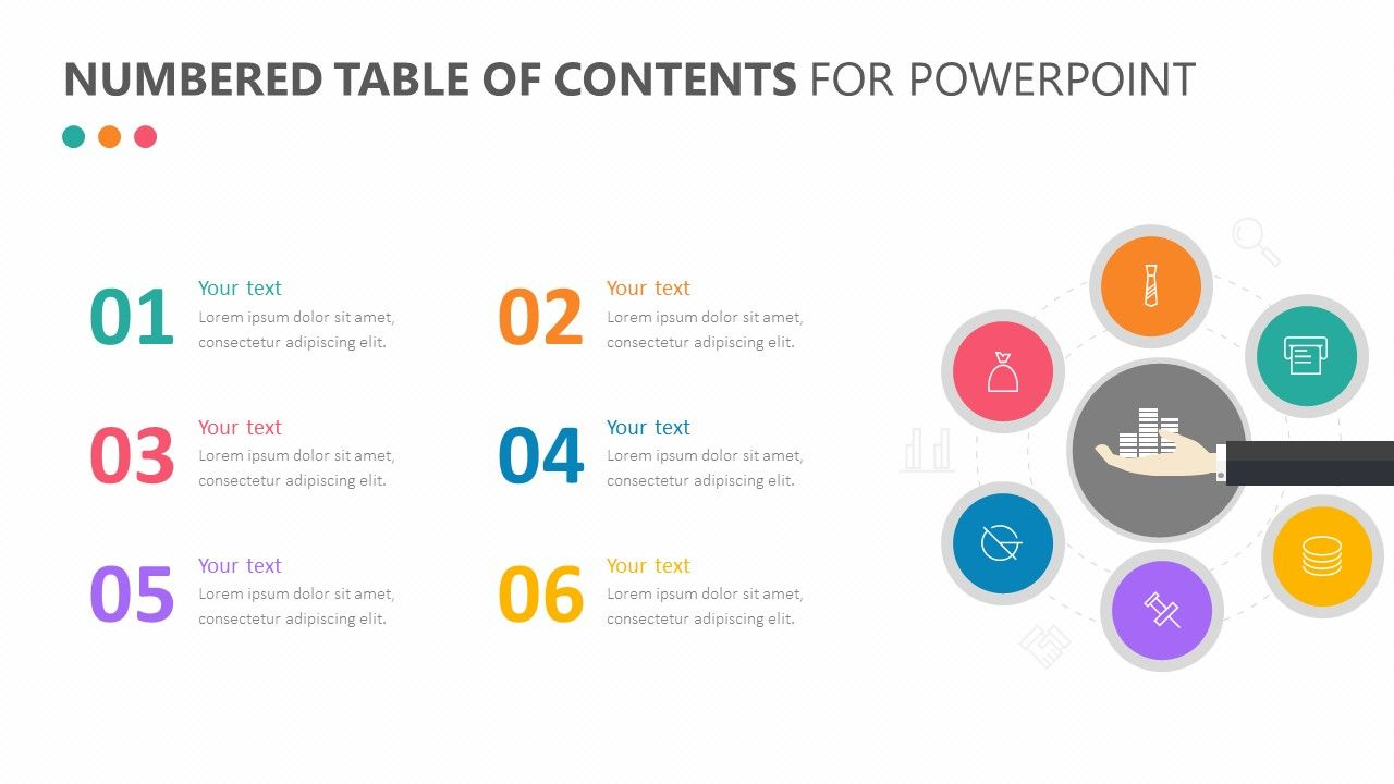 The Numbered Table Of Contents For Powerpoint Features A Table Of Contents That Allows You To Introduce A Table Of Contents Design Powerpoint Table Of Contents