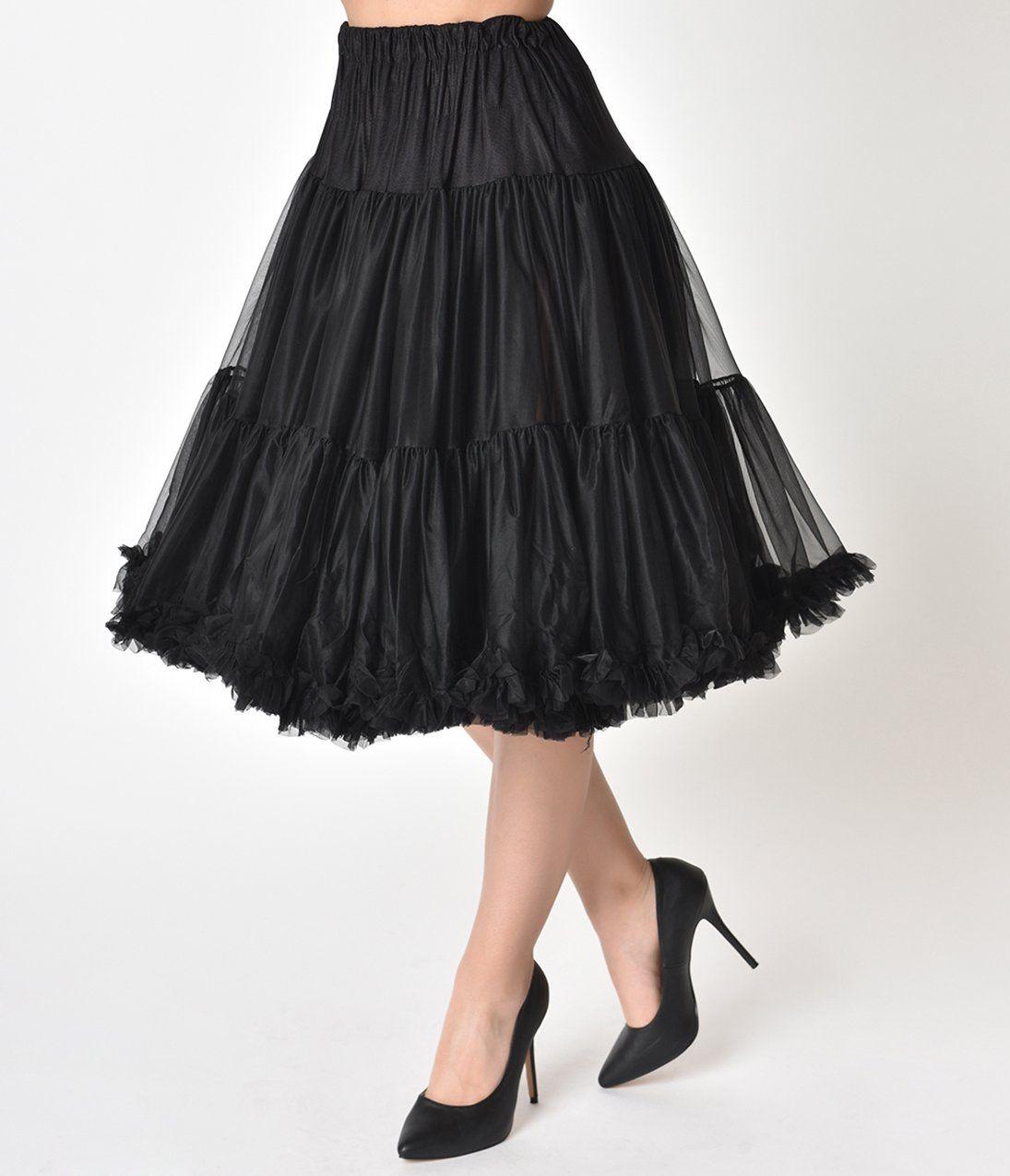184aa0c56c941 1950s Style Black Tea Length Ruffled Chiffon Petticoat Crinoline – Unique  Vintage
