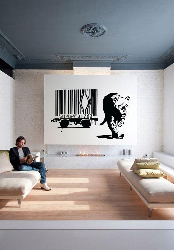 Wall Art Barcode Leopard by Banksy vinyl wall by cutnpasteshop ...