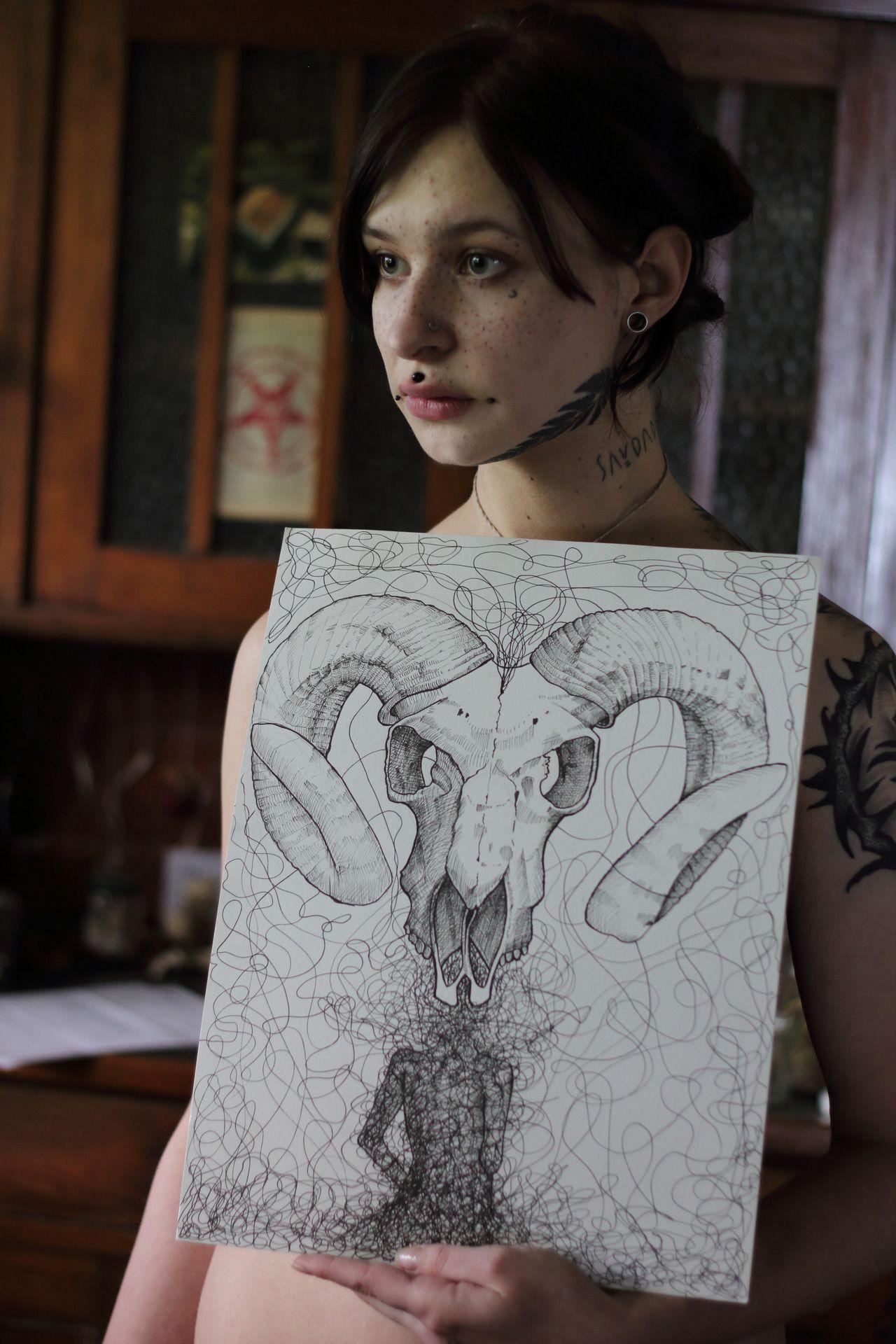 These drawing is alsoavailable as a print on my etsy store <3 - #art #artprint #darkart #darkarti #Drawing #etsy #Fücksin #Fucksteufelswild #fvcksi #Fvcksteufelswild #goatskull #linework #occultart #print #satanicart #witch #witchy
