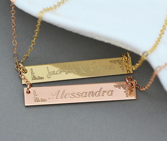 Name Necklace Personalized Necklace Name Plate Bar Necklace Bridesmaid Gift Initial Necklace Art Deco 14kt Gold id necklace pendant
