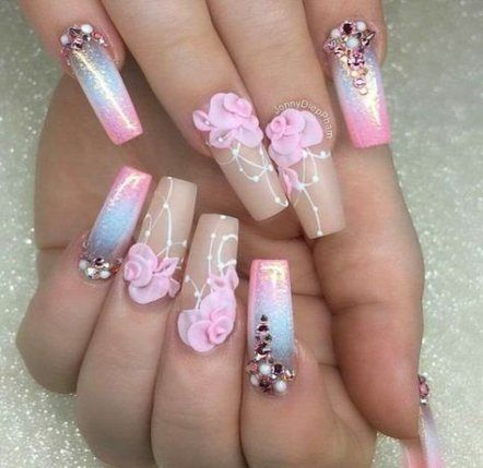 43 trendy nails coffin summer 2018  3d nail designs