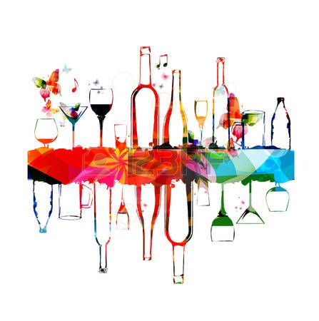 Dessin verre de vin conception color e avec des bouteilles et des verres illustration 1 - Verre de vin dessin ...