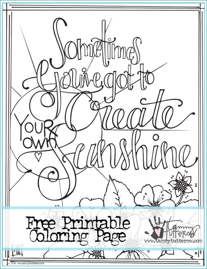 Tammy Tutterow Designs Quote Coloring Pages Free Printable Coloring Coloring Pages