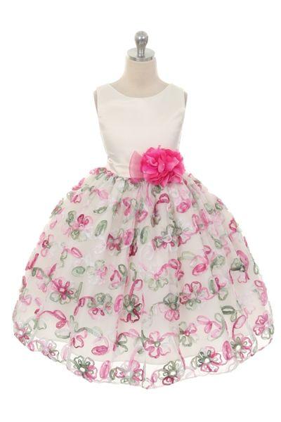 1261454c379 Satin Rose Ribbon Flower Girl Dress
