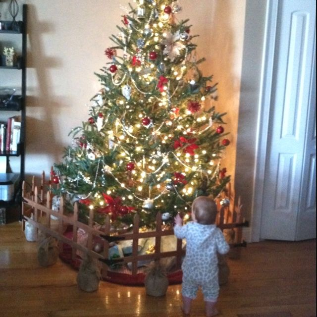 Keep Christmas Tree Away From Baby My Diy Christmas Tree Baby Gate Landscape Edging Held Togethe Diy Christmas Tree Childproof Christmas Tree Christmas Diy
