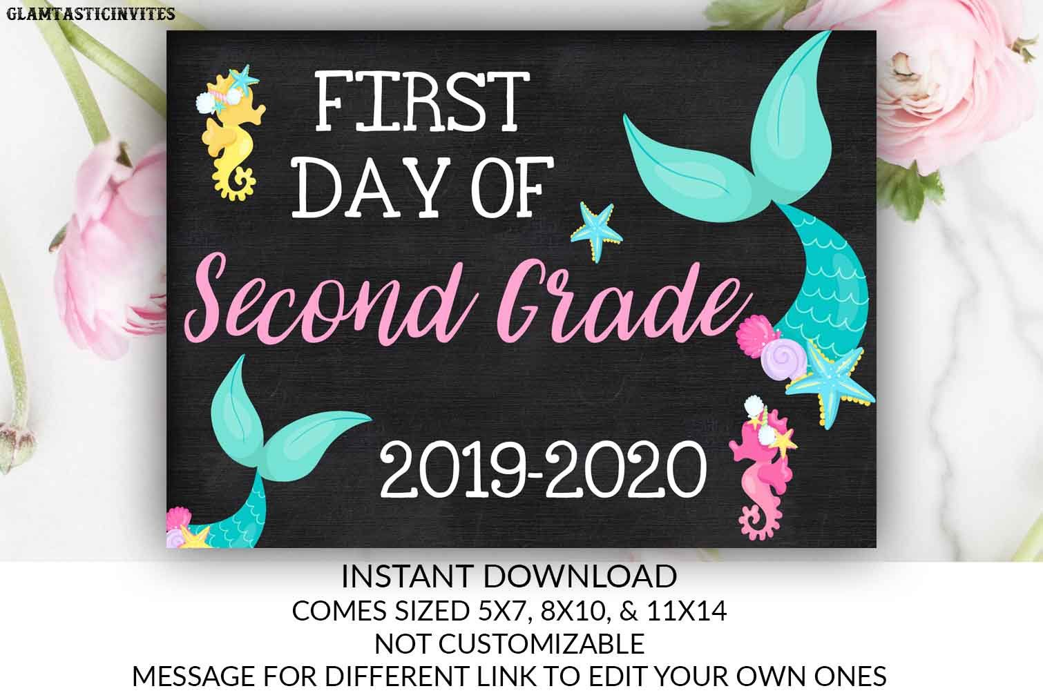 picture regarding First Day of 2nd Grade Printable Sign identified as Mermaid Moment Working day of Initial Quality Indication Chalkboard Electronic