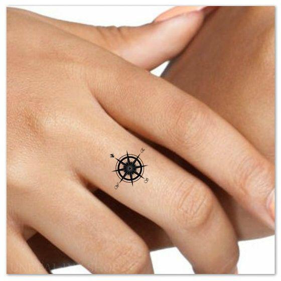 Temporary Tattoo Compass Finger Waterproof Fake Tattoos Thin Durable ...