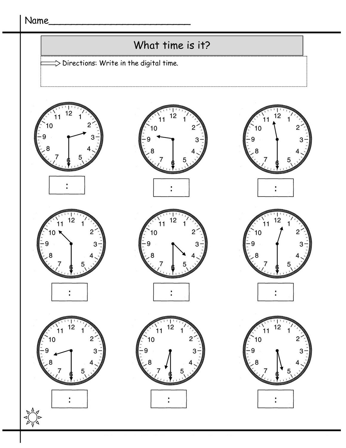 small resolution of Blank Clock Worksheet to Print   Time worksheets