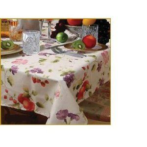 Violet Linen European White Fruit Tablecloth in Beige