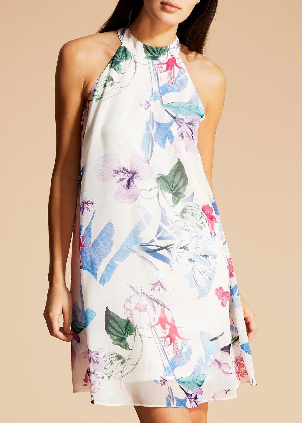 27911a7434ef FWM Floral Print Halterneck Dress Matalan