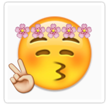 Flower Crown Peace Sign Emoji By Victoriawbu Peace Sign Emoji Cute Emoji Wallpaper Peace Sign