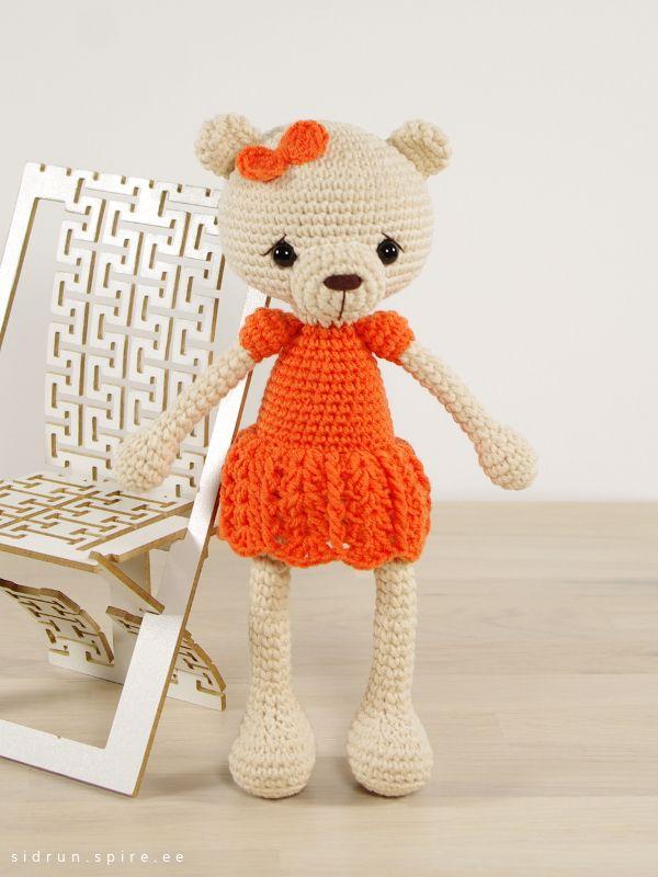 Crochet pattern: Long-legged teddy bear in a dress // Kristi Tullus ...