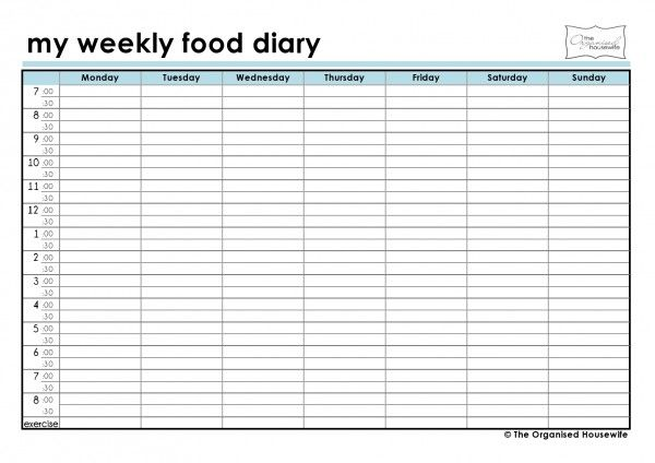 FREE Printable Weekly food diary – Food Diary Template Download