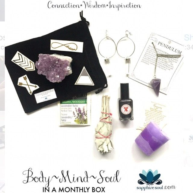 Still A few days left to order #sapphiresoul #mytribe #balancebox for April go to www.sapphiresoul.com and enter in the code MYTRIBEGEMS for a free Crystal healing necklace and amulet with any medium or large box! ✨✨ I wonder what will come?  Spoilers: @phillyloveslacquer @42yogis #amethyst #tribal Q&A body adornment and so much more! #subscriptionbox