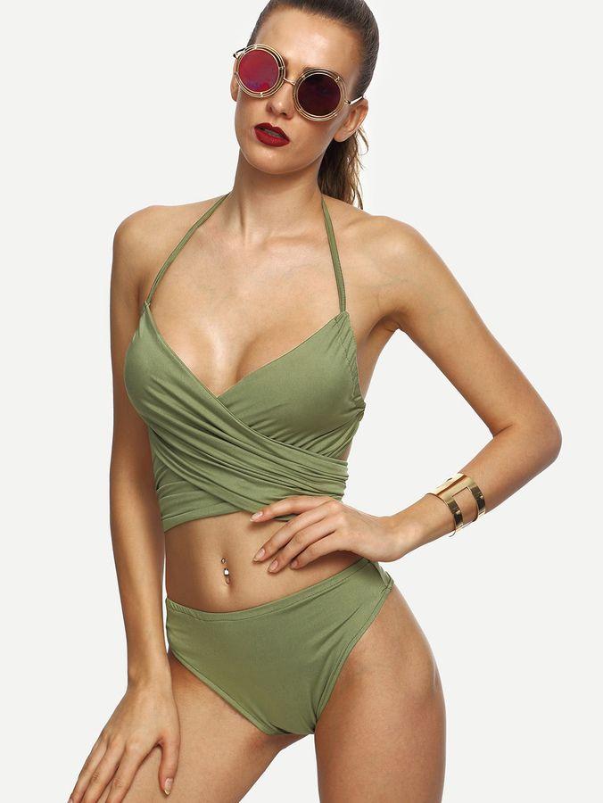 6f405a08a5 Shein Cross Wrap Self Tie Back Ruched Bikini Set | Products ...