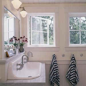 Love the double farmhouse sink... more period appropriate than a big vanity