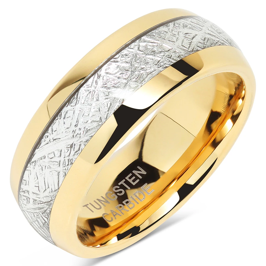 Mens Wedding Bands Tungsten Gold Rings Comfort Fit