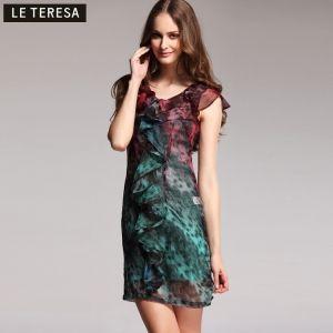 $64.00 2013 spring new brand ladies' genuine counter flounced gradient chiffon elegant primer dresses summer the female main