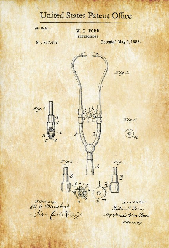 Stethoscope Patent - Decor, Doctor Office Decor, Nurse Gift, Medical ...