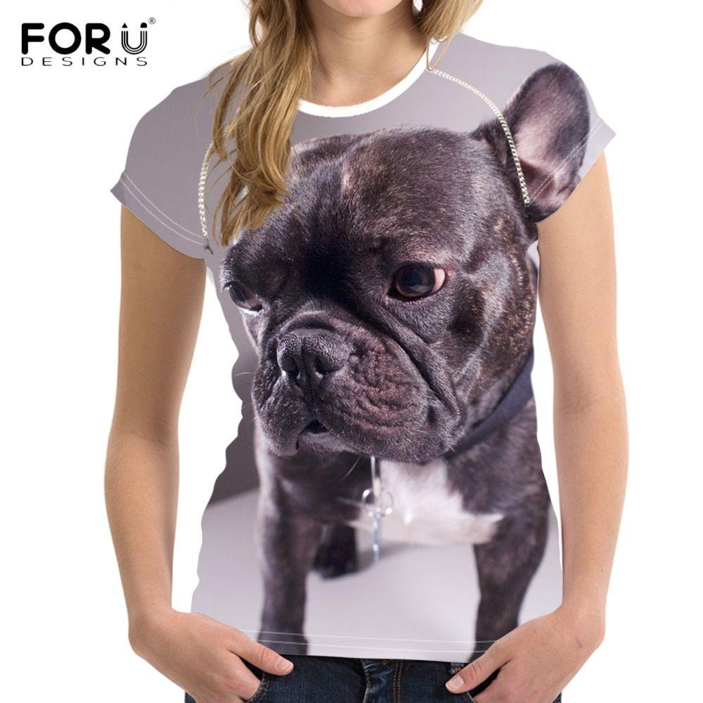 Cheap FORUDESIGNS 3D French Bulldog Printing T Shirt Women