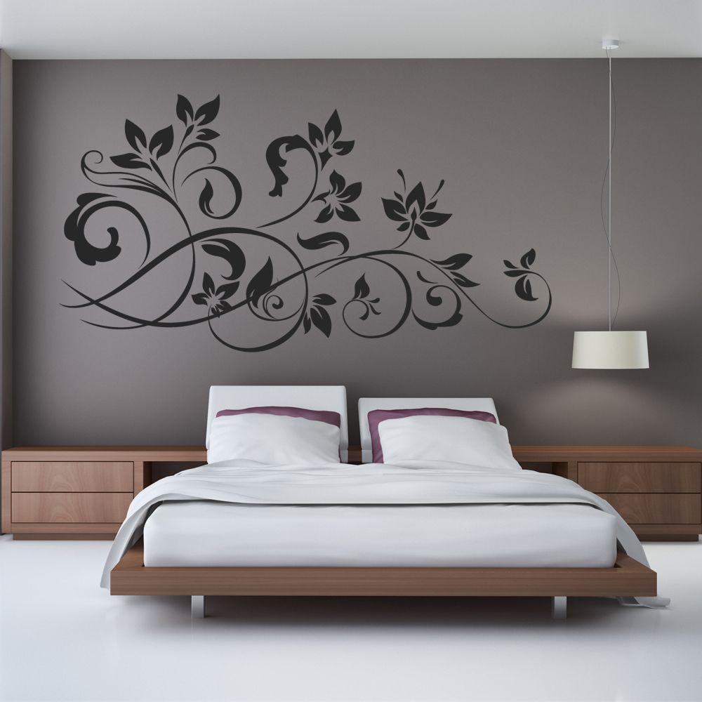 Progetti di parete per camera da letto, decorazione per pittura murale,. Adesivo Murale Fiore Ornamentale Adesivi Murali Colori Degli Interni Interior Design Per La Casa