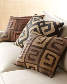 Kuba Lines Pillow    An engaging blend of earth tones and geometrical designs, these amazing pillows are handcrafted of Kuba cloth, the embroidered and appliqued fabric of the Kuba people and the best-known example of the ancient African tradition of raffia cloth weaving. Each pillow is one of a kind.