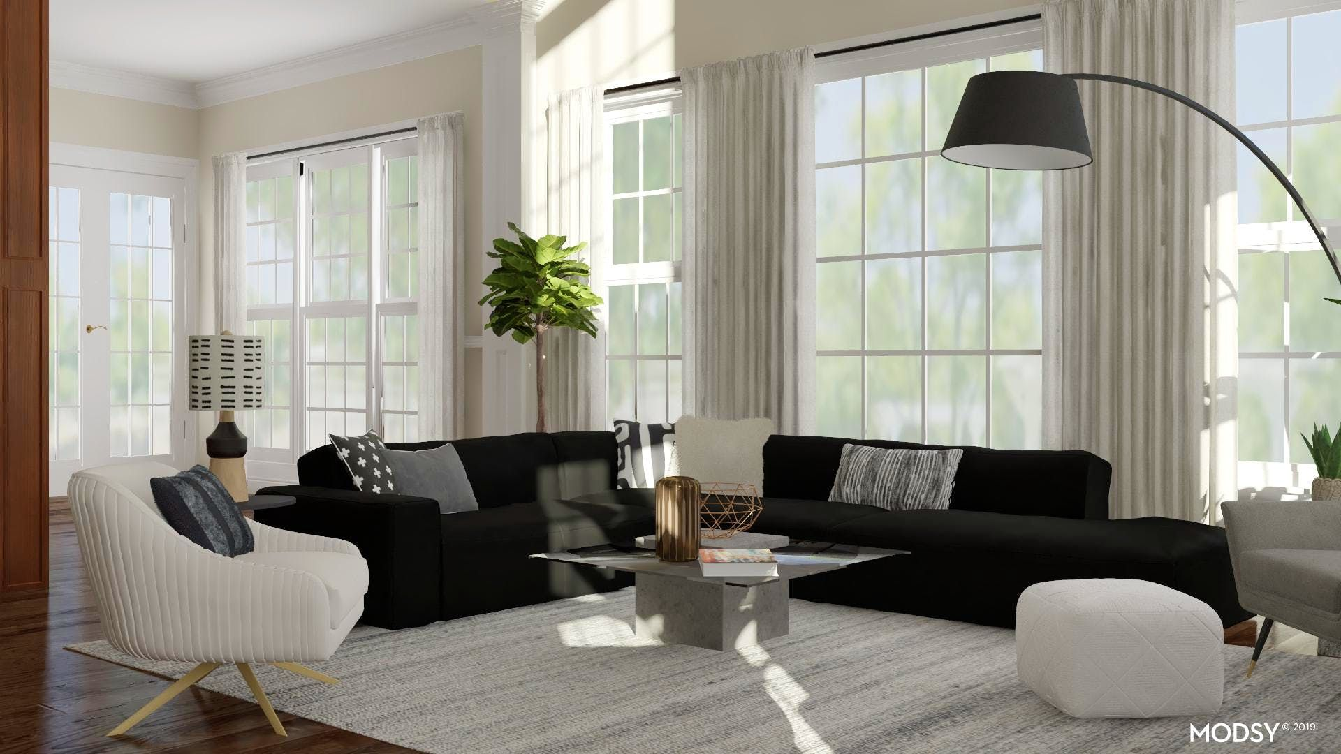 Design Ideas And Styles From Modsy Designers In 2020 Black And White Living Room Modern White Living Room Modern Style Living Room Designs