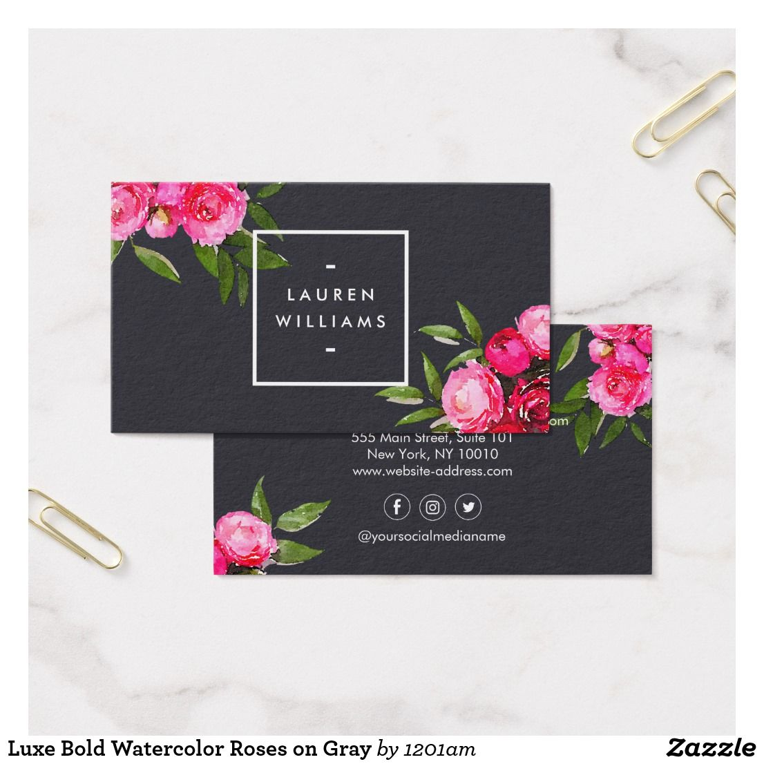 Luxe Bold Watercolor Roses On Gray Business Card Zazzle Com