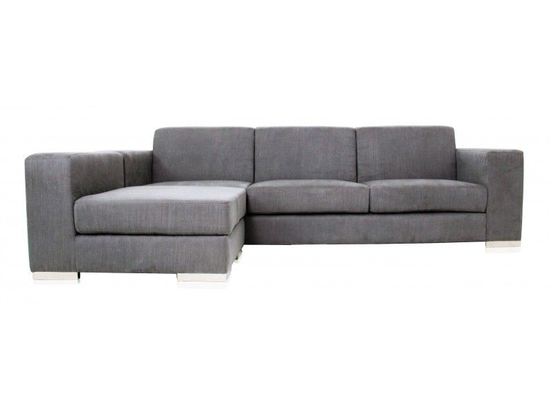Modani Long Island Sectional Sofa Modern Grey Microfiber Fabric