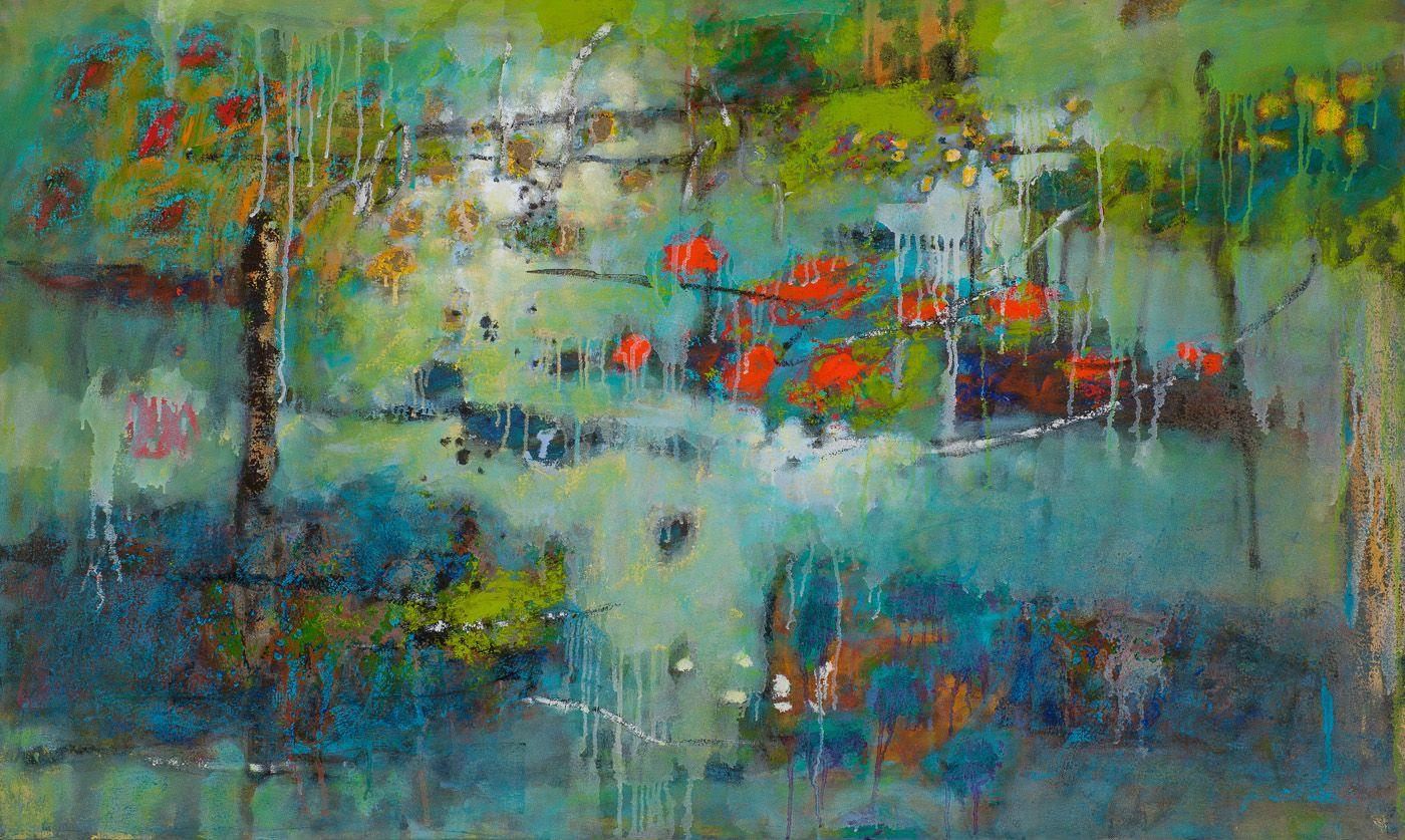 "Rick Stevens, artsit, ""Dependent Arising""   oil on canvas   30 x 50""   2014"