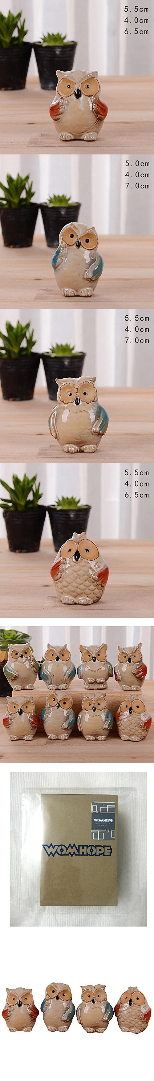 WOMHOPE 4 Pcs - Small Colorful Wise Owls Figurine House Warming Gift Tabletop Shelf Ceramic Home Decorative Collectible Figurine Statues (B)