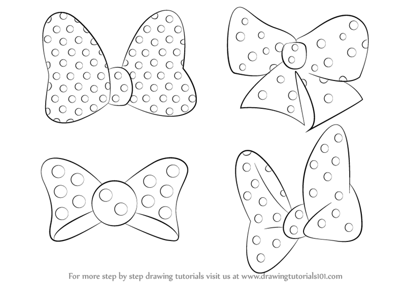 How To Draw Minnie Mouse Bow Tie Drawingtutorials101 Com Minnie Mouse Drawing Minnie Mouse Bow Bow Drawing