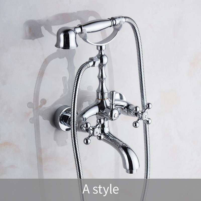 Luxury Chrome Style Silver Color Bath Tub Faucet Ceramic Handle