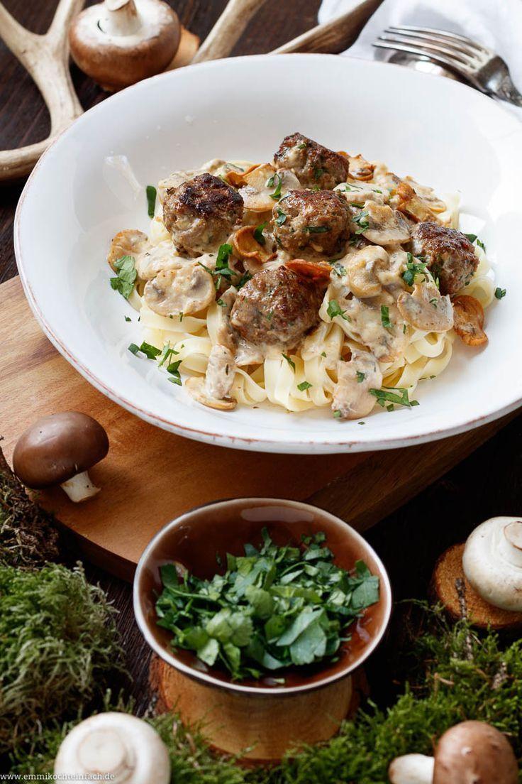 Photo of Pasta with mushroom meatballs in mushroom cream sauce – easy to cook