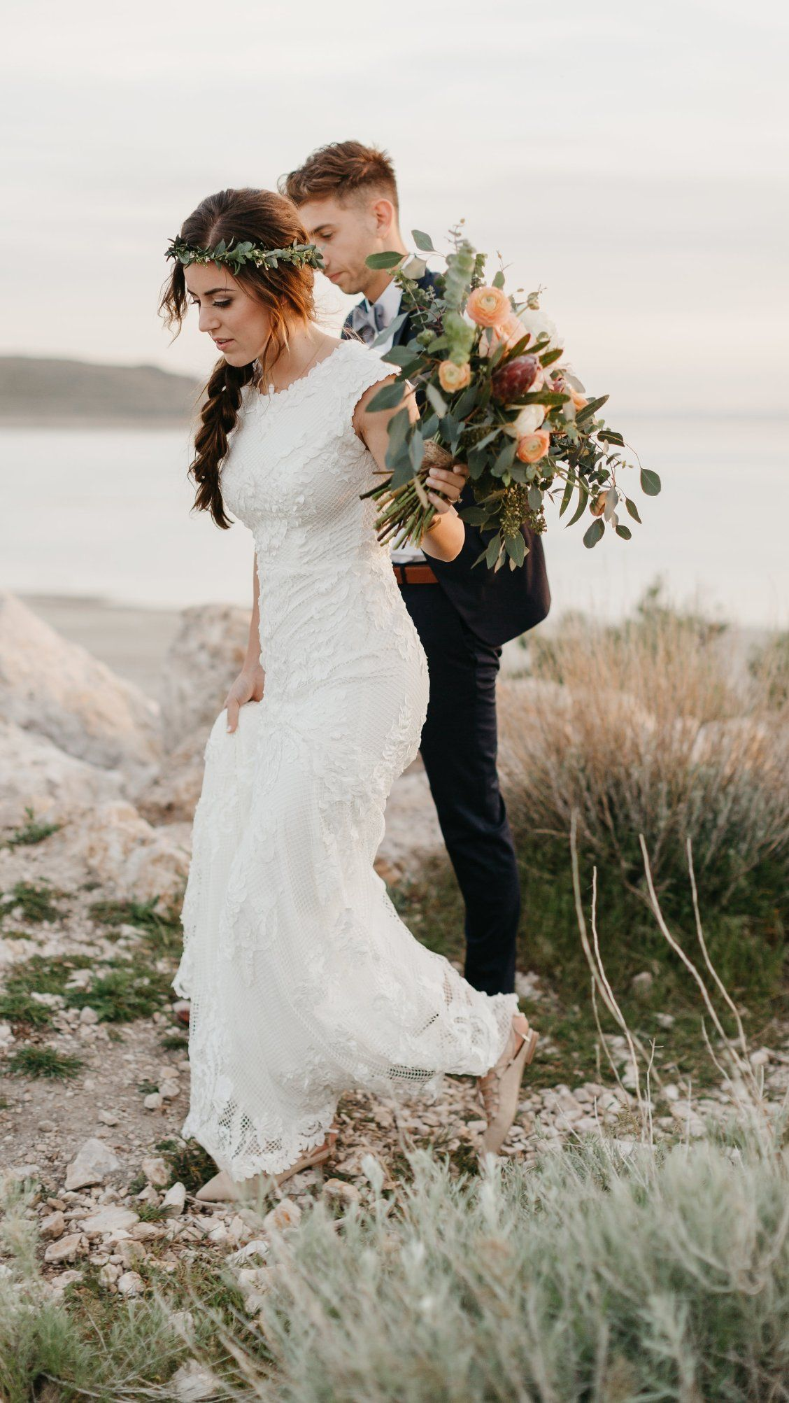 ffd852e9aa9 Suzanne Rose by Sottero and Midgley   Real wedding courtesy of Kenzie D  Photography   Outdoor nuptials   Bride and groom   Bridal bouquet   Modest  wedding ...