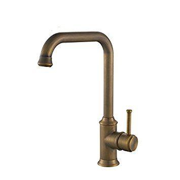 Hiendure™ Antique Brass Kitchen Sink Faucet with Swivel Spout ...