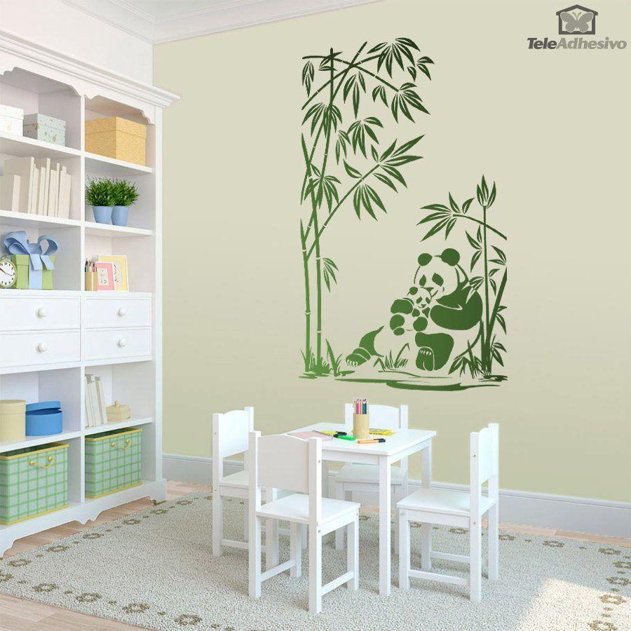 Vinilo Decorativo Osos Panda Y Ca As De Bamb Cameo Pinterest  ~ Cañas De Bambu Verdes Para Decorar