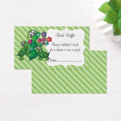 Cute Turtle Baby Shower Theme Book Raffle Business Card - pattern