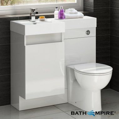 Gloss White Combined Vanity Unit Toilet And Basin