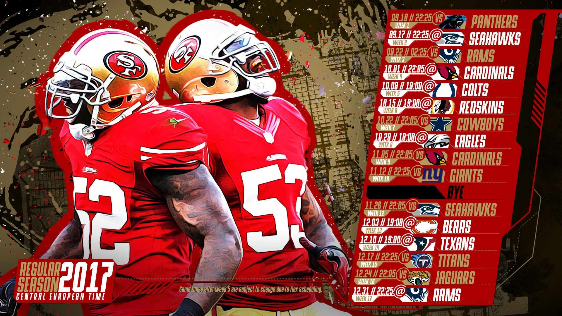 Schedule wallpaper for the San Francisco 49ers Regular