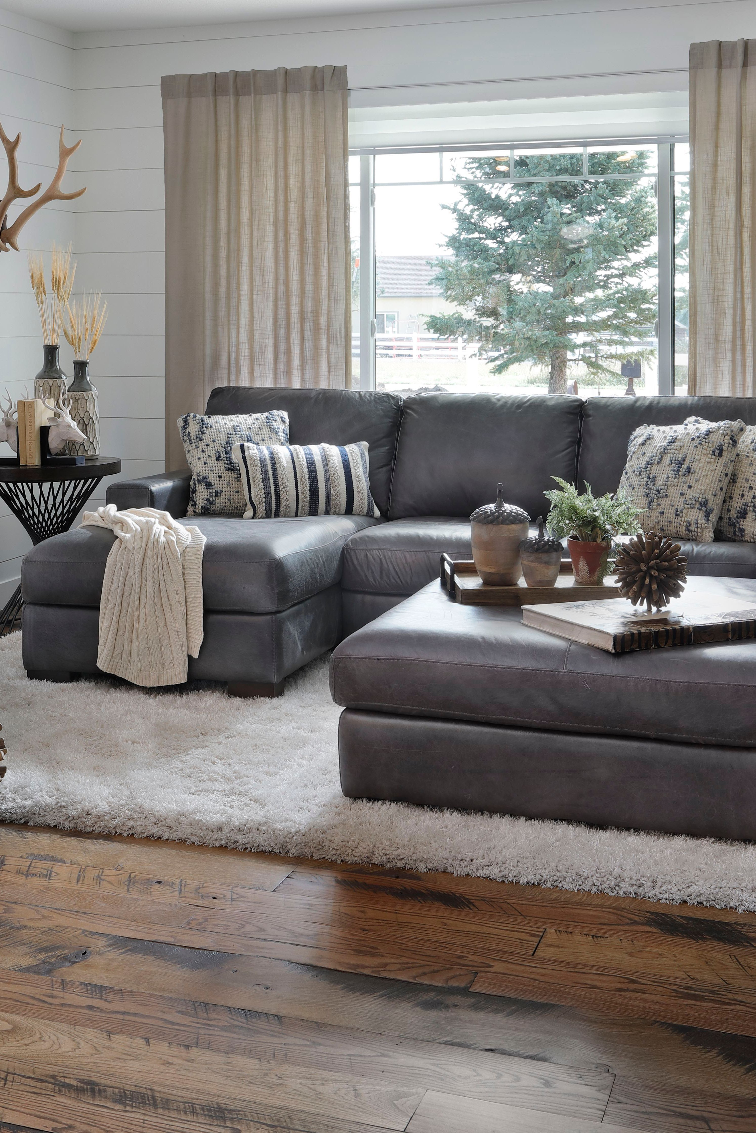 Durango 2 Pc Chaise Sectional Living Room Leather Grey Leather Sofa Living Room Grey Couch Living Room