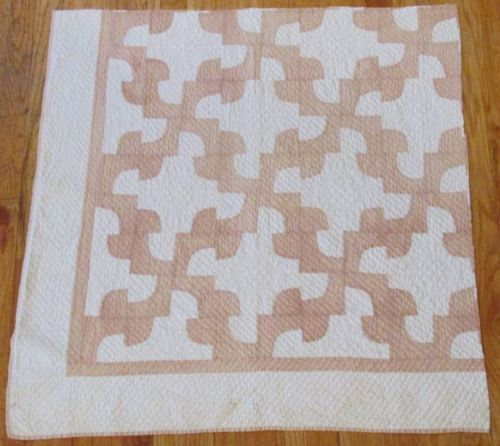 "Densely Quilted Antique Tan White Table Wall Doll 36x35"" Quilt Craft Large Piece 