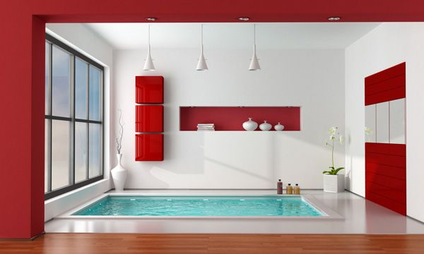 Bathroom Red some red accents on the white bathroom with wooden square tub