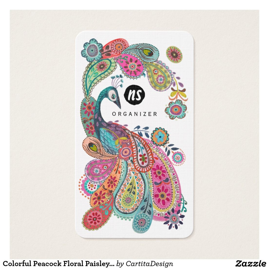 Colorful peacock floral paisley business cards business cards colorful peacock floral paisley business cards magicingreecefo Images