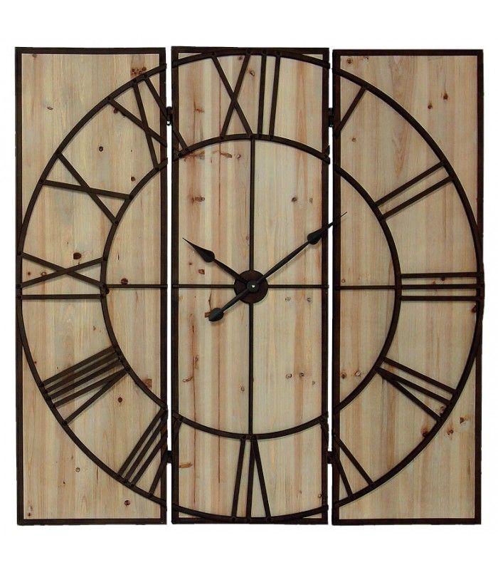 Awesome grande horloge murale en bois et mtal marron rouille cm with grosse pendule murale design for Grosse horloge murale design
