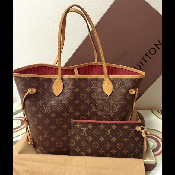 ef4e9b5c980cf Louis Vuitton Neverfull MM Monogram w  Pivoine red Louis Vuitton Neverfull  MM Monogram w  Pivoine (red ) interior   uesd in excellent condition comw  with ...