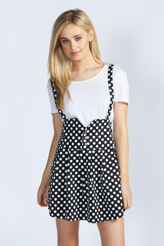 Madonna High Waisted Polka Dot Dungaree Skirt --- I actually kind of like this