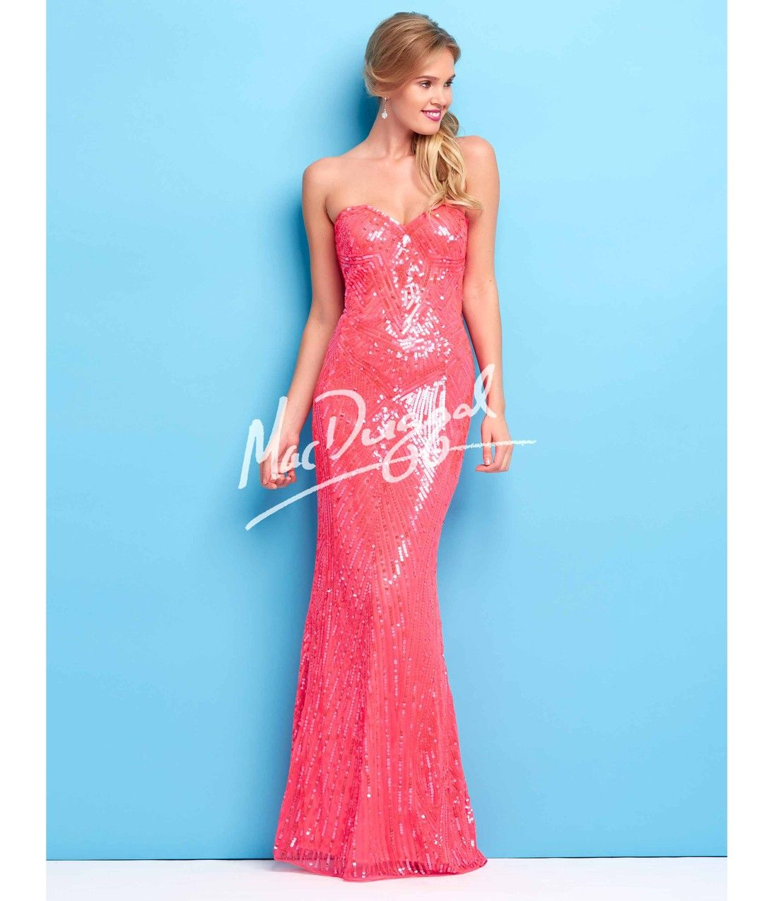 Mac Duggal Flash Stunning Neon Coral Sequin Gown Prom 2015 from ...