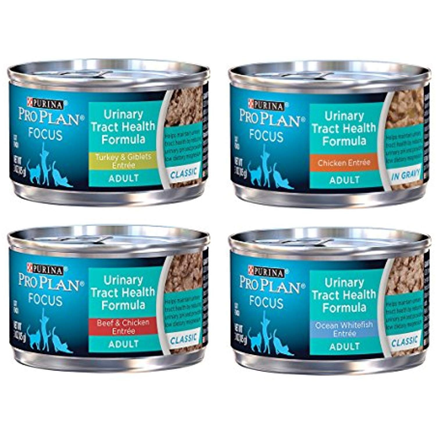 Purina Pro Plan Focus Wet Cat Food Urinary Tract Health Uth Variety Pack 4 Flavors 3 Ounce Cans 12 Tot Purina Pro Plan Urinary Tract Cat Food Wet Cat Food